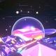 Glossy Terrain With Rainbow Planet
