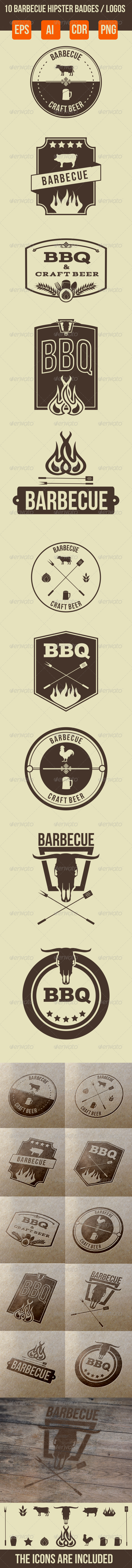 10 Barbecue Hipster Emblems - Retro Technology