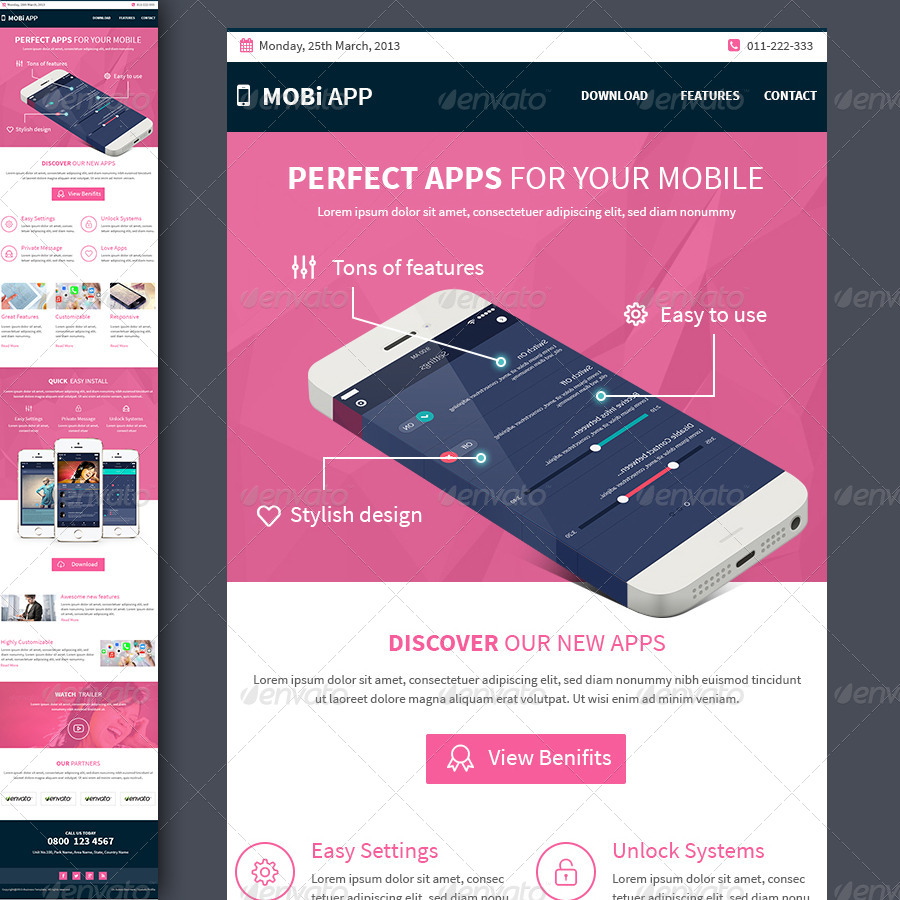 Mobile apps multipurpose e newsletter template by for Google apps email templates