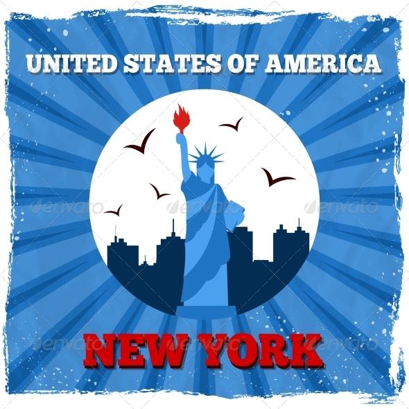 New York USA Retro Poster - Travel Conceptual