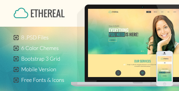 Ethereal - Multipurpose Onepage PSD Template - Corporate PSD Templates