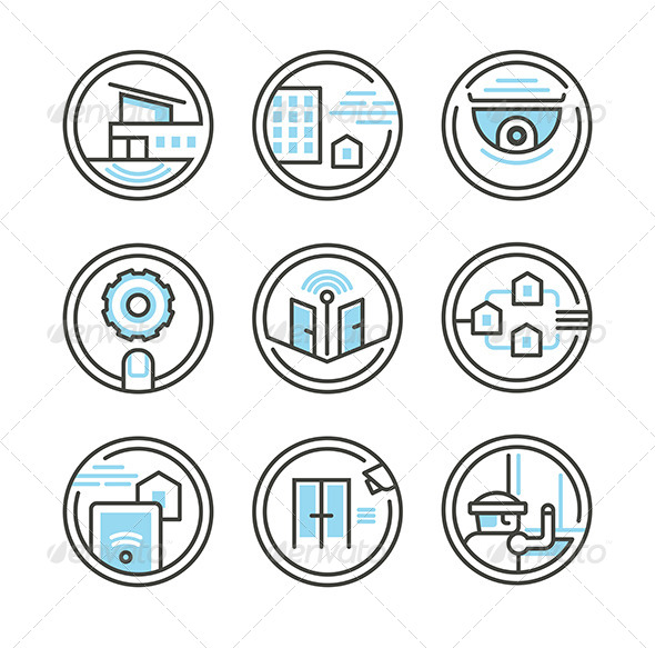Set of Residential Security Icons - Technology Icons