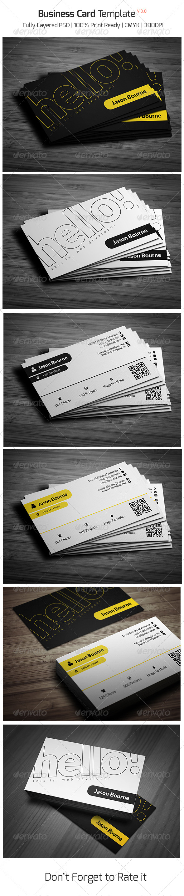Business Card Template v - 3.0 - Business Cards Print Templates