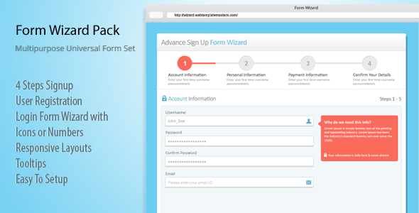 Responsive Login, Sign Up and Payment Form Wizard - CodeCanyon Item for Sale