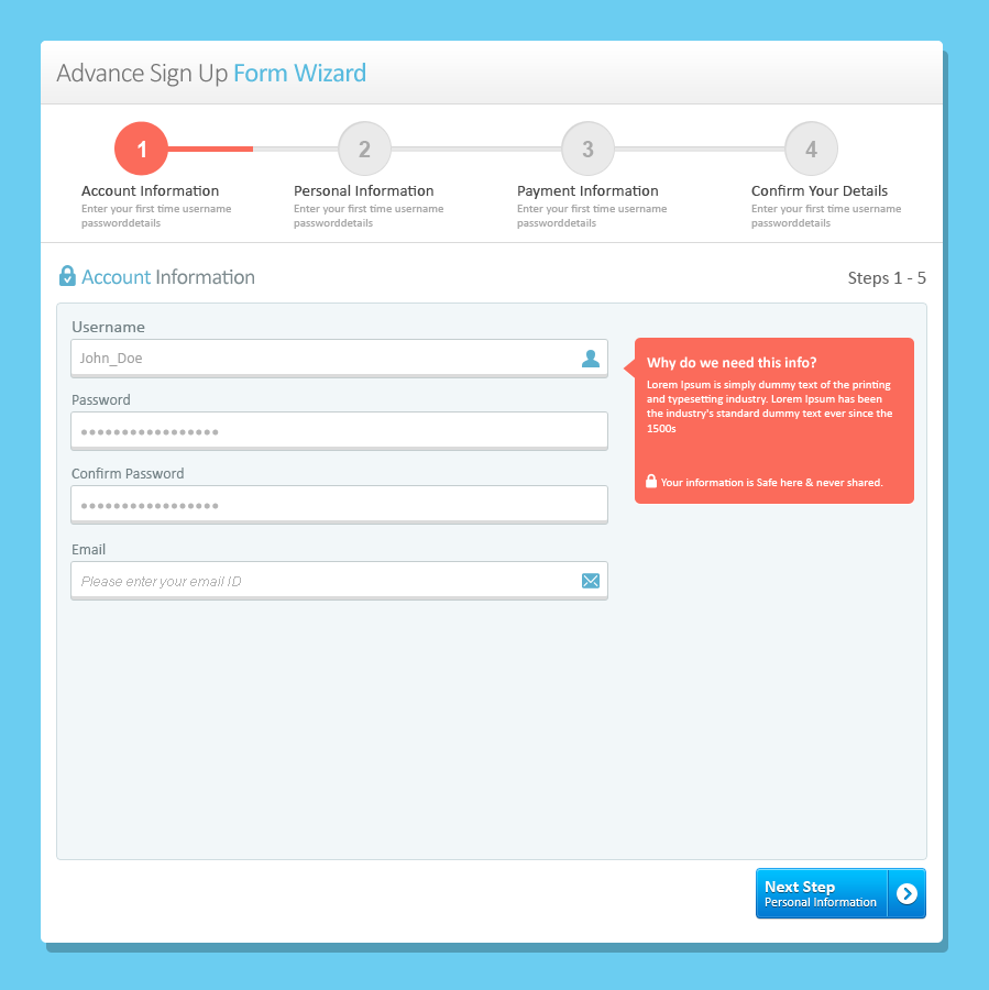 Responsive Login, Sign Up and Payment Form Wizard by ThemeMakers ...