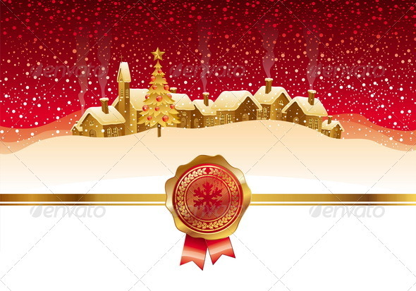 Winter Night Landscape With Christmas Village - Christmas Seasons/Holidays