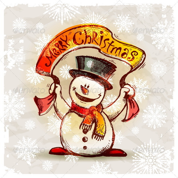 Hand Drawn Snowman With Greeting Banner - Characters Vectors