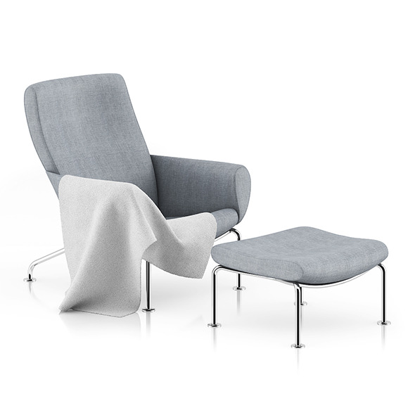 Grey Lounge Chair with Footrest - 3DOcean Item for Sale