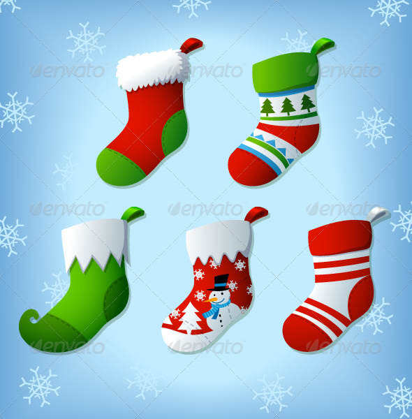 Christmas Socks Vector Clip Arts - Christmas Seasons/Holidays