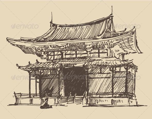 Japan Landmark Vintage Illustration - Buildings Objects