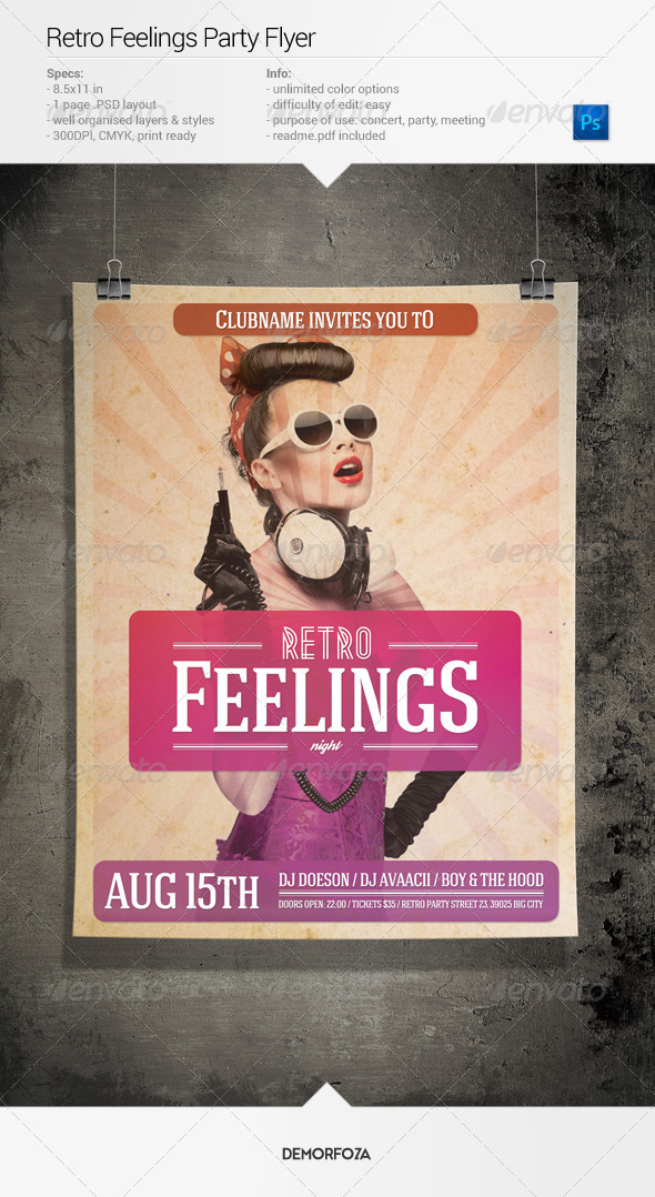 Retro Feelings Party Flyer - Events Flyers