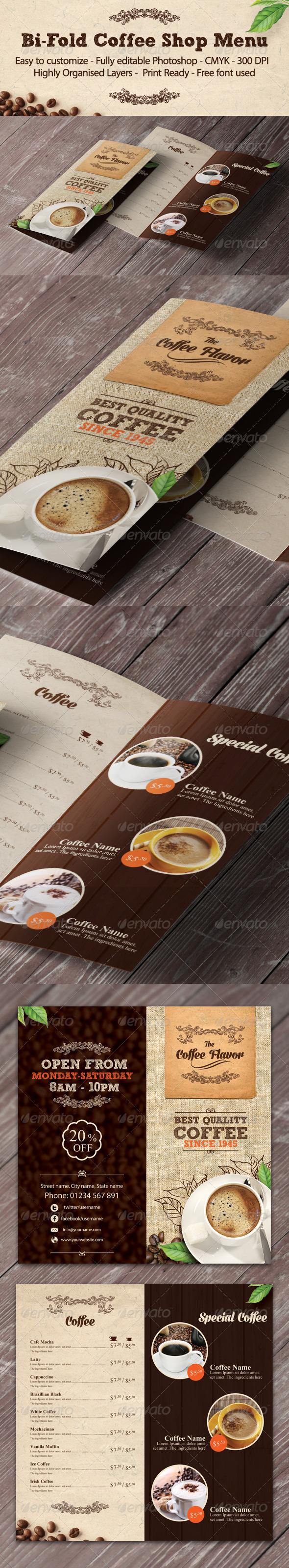 Bi-fold Coffee Shop Menu Template - Food Menus Print Templates