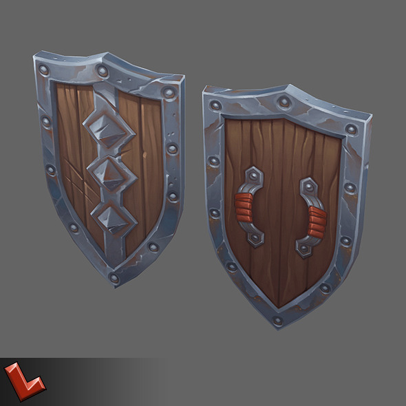 Low poly hand painted shield [Militia 06] - 3DOcean Item for Sale