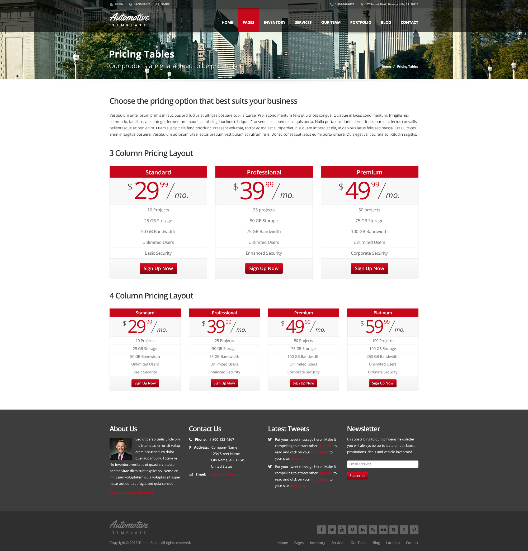 Pricing: Automotive Car Dealership & Business HTML Template By