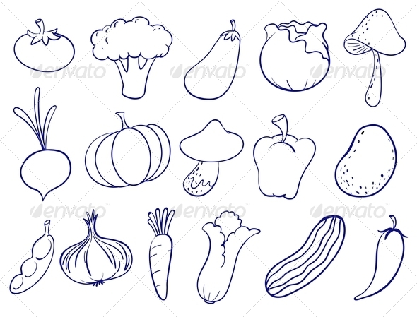 Fruit and Veg Doodles by interactimages | GraphicRiver