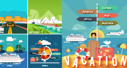 Concepts items for traveling, planning a summer vacation, tourism and journey objects
