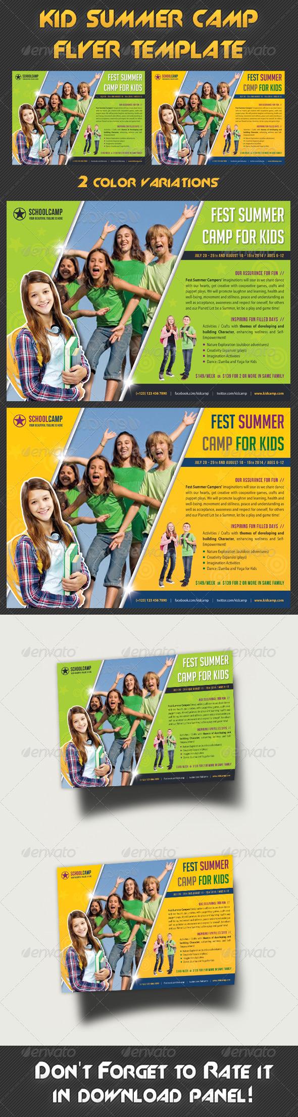 Kids Summer Camp Flyer Template - Print Templates