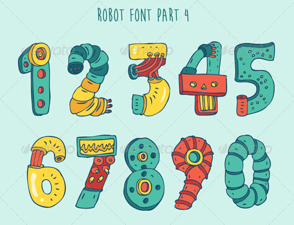 Cartoon Colorful Robot Font Part 4 - Miscellaneous Characters