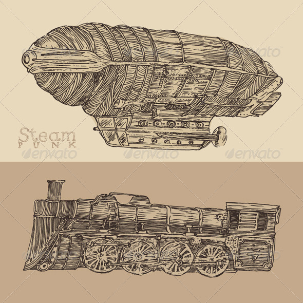 Steam Punk Airship and Train  - Man-made Objects Objects