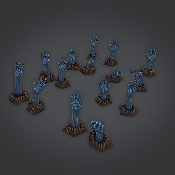 low poly zombie hands set - 3DOcean Item for Sale