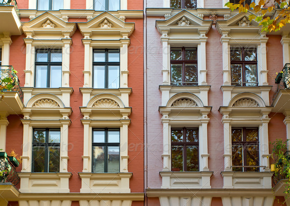 Windows of two rehabilitated townhouses - Stock Photo - Images