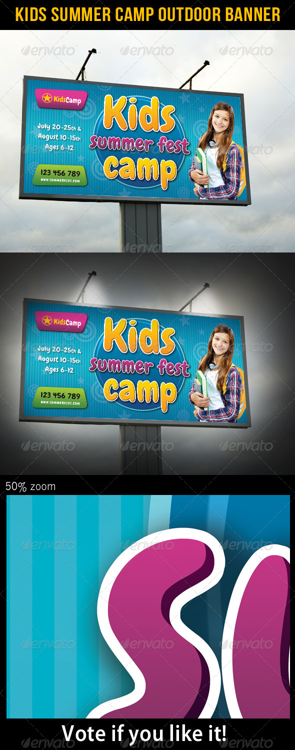 Kids Summer Camp Outdoor Banner 02