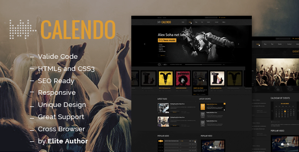 Calendo Music Responsive HTML Template - Music and Bands Entertainment