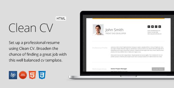 Clean Cv Responsive Resume Template 4 Bonuses By Bitpub - Cv-clean-resume