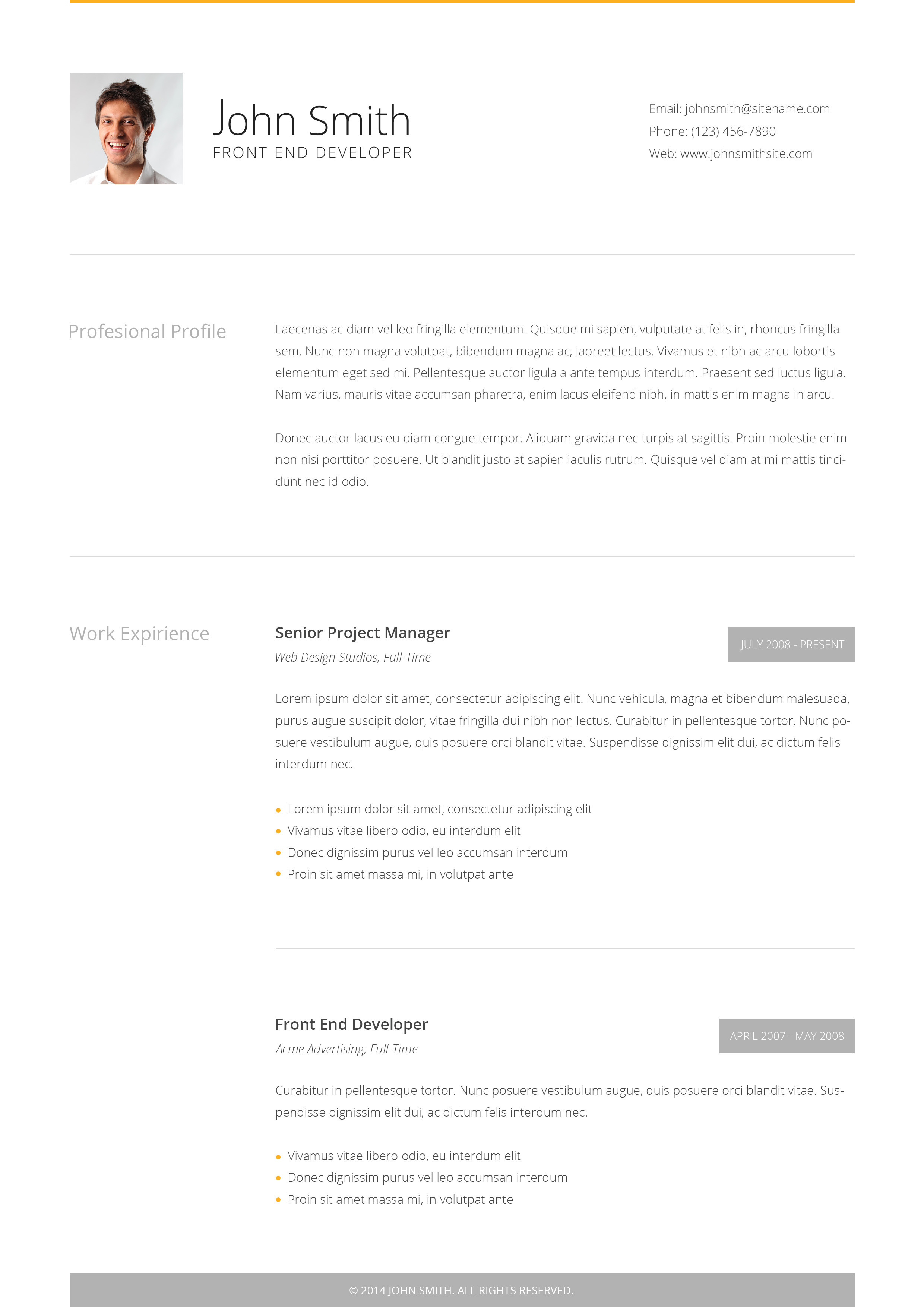 Clean Cv  Responsive Resume Template   Bonuses By Bitpub