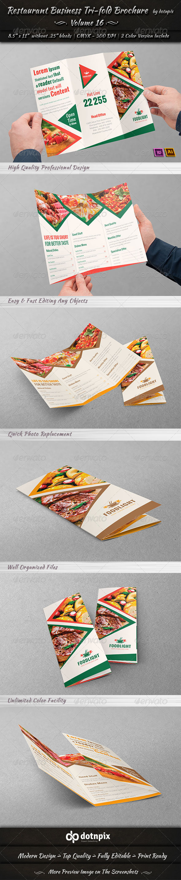 Restaurant Business Tri-Fold Brochure | Volume 16 - Corporate Brochures