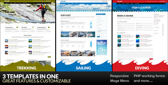 Volare – Trekking, Sailing, Diving Template