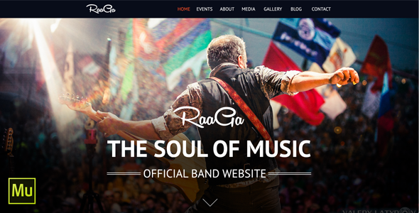 Raaga Parallax Muse Template for Musicians & Bands - Creative Muse Templates