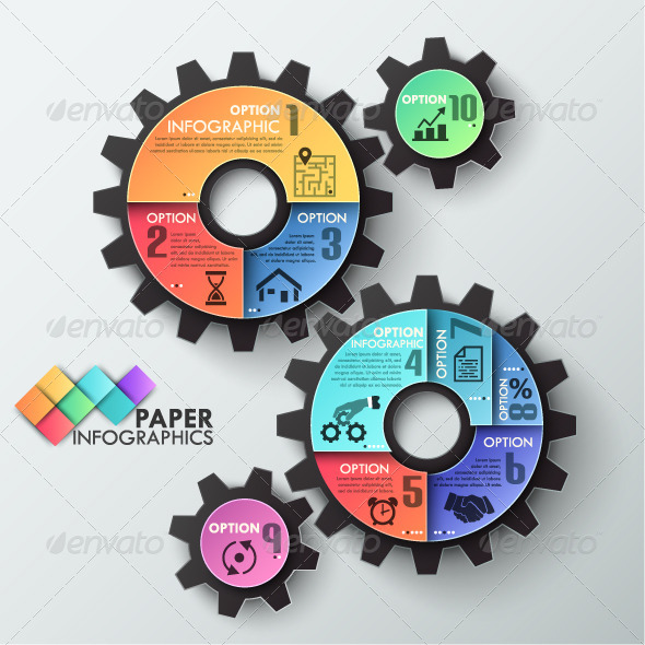 paper infographic template with 3 gears infographics
