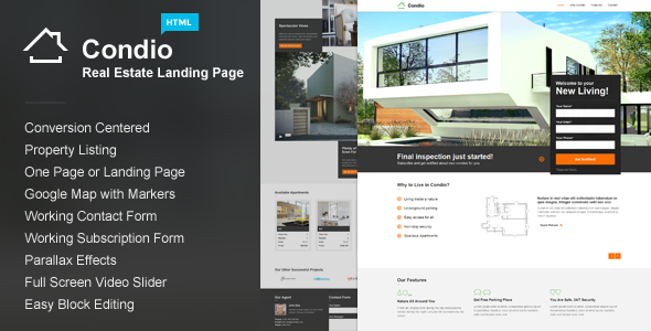 Condio – Real Estate One Page & Landing Page HTML