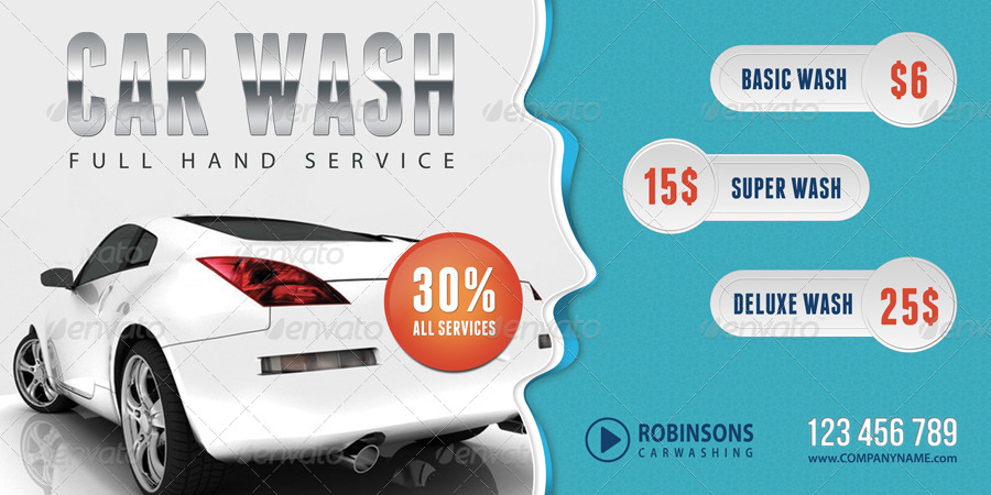 3 In 1 Car Wash Outdoor Banner Bundle 01 By Rapidgraf Graphicriver