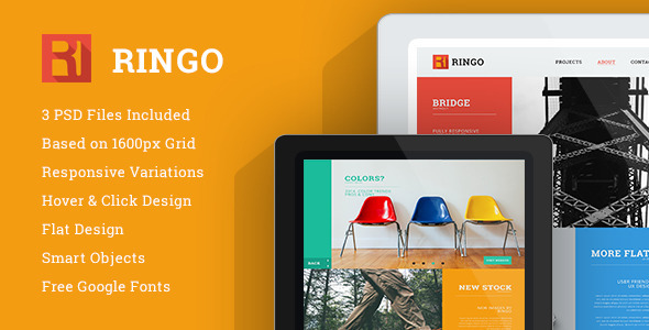 Ringo – One Page PSD template