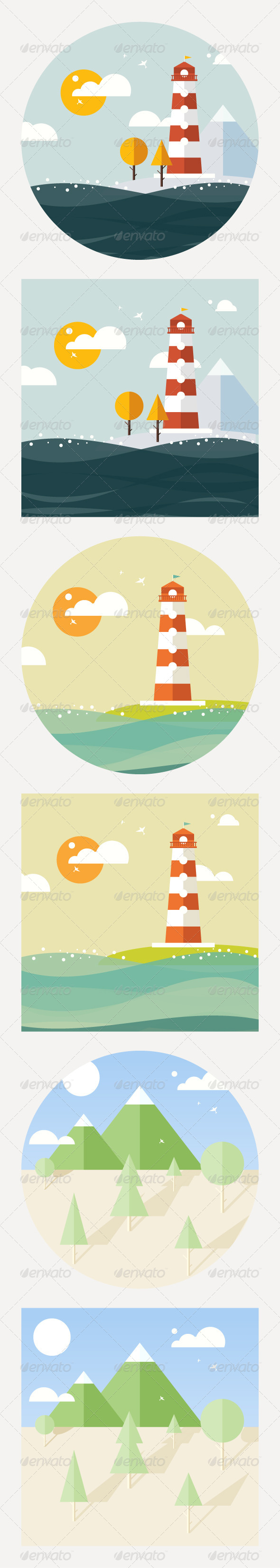 Hipster Vector Lighthouse Flat Style - Landscapes Nature