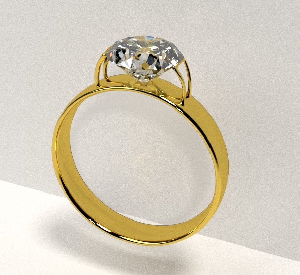 Golden Ring with Diamond - 3DOcean Item for Sale