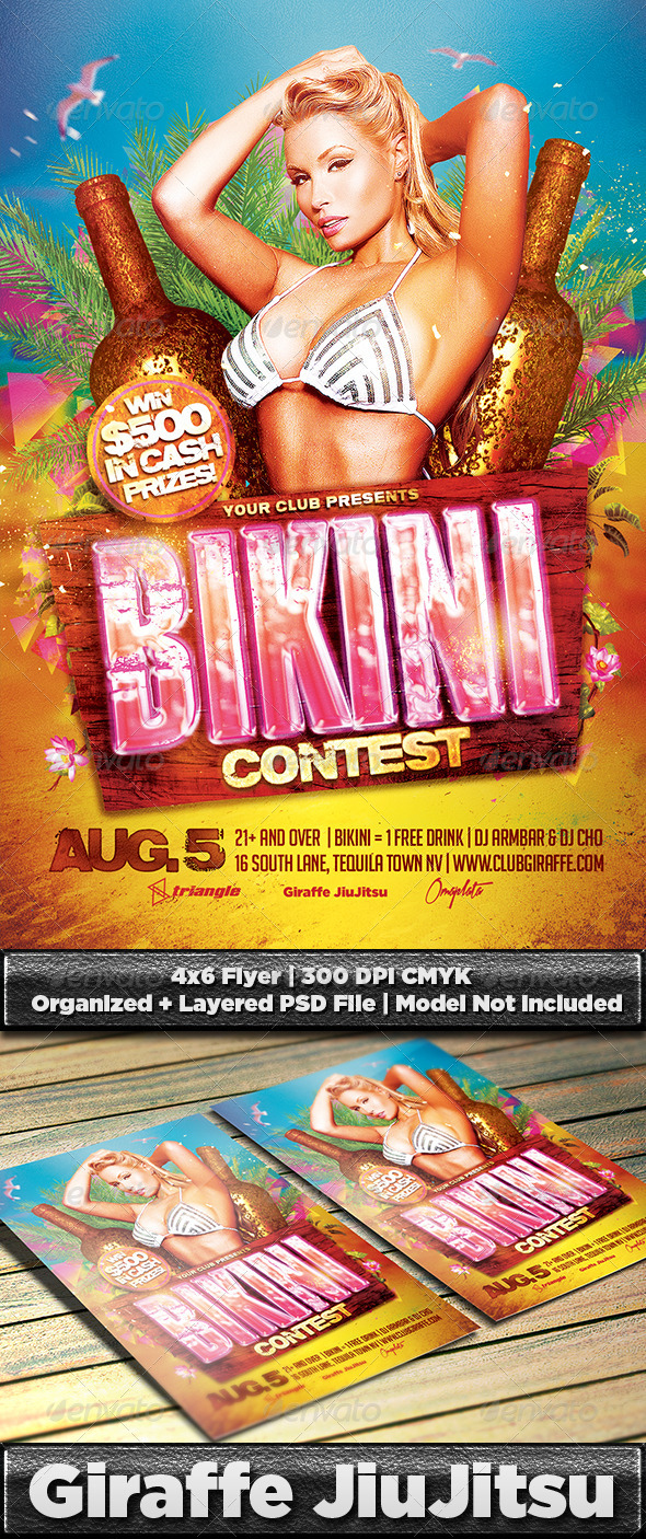 Bikini Contest Flyer Template PSD by GiraffeJiujitsu – Competition Flyer Template