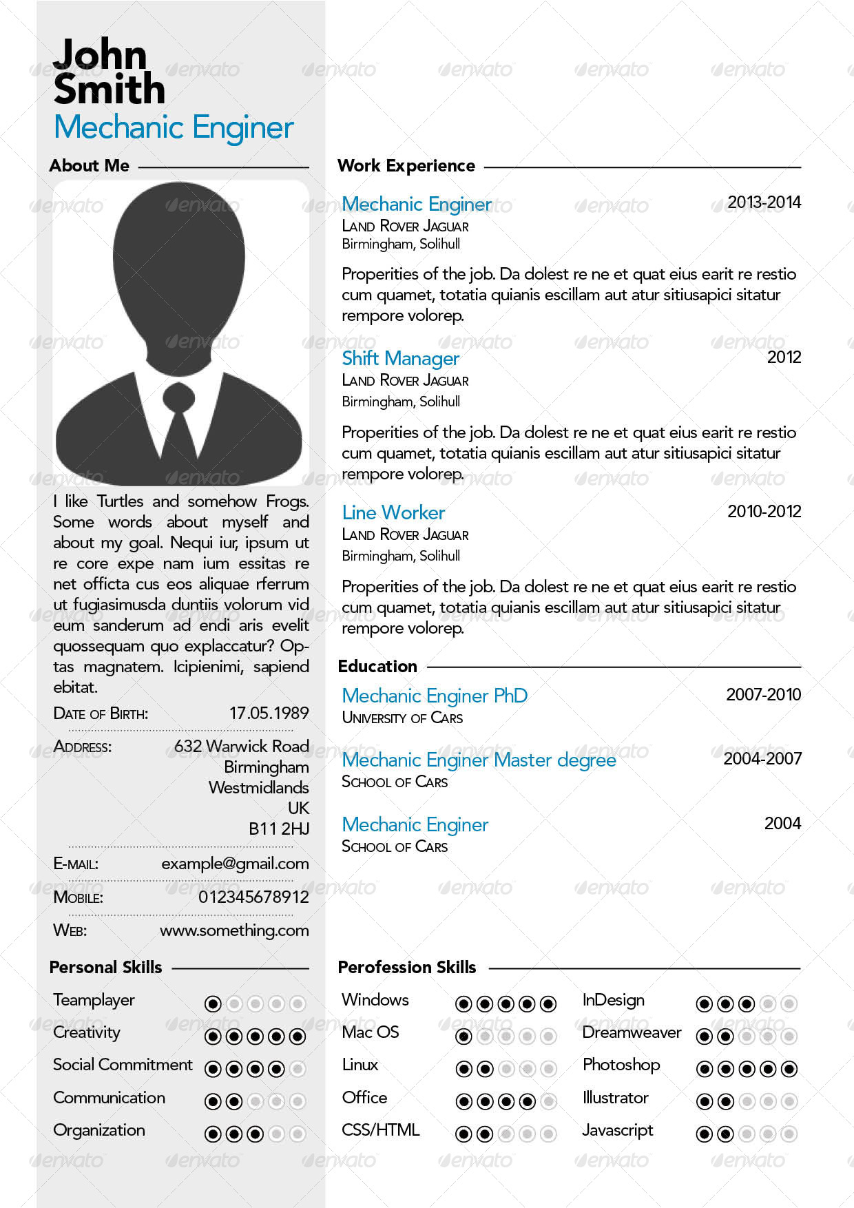 simple professional resume cv by szeszil graphicriver