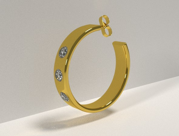 Golden Earring with Diamonds - 3DOcean Item for Sale