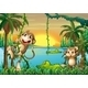 Lake with Crocodiles Monkeys - GraphicRiver Item for Sale