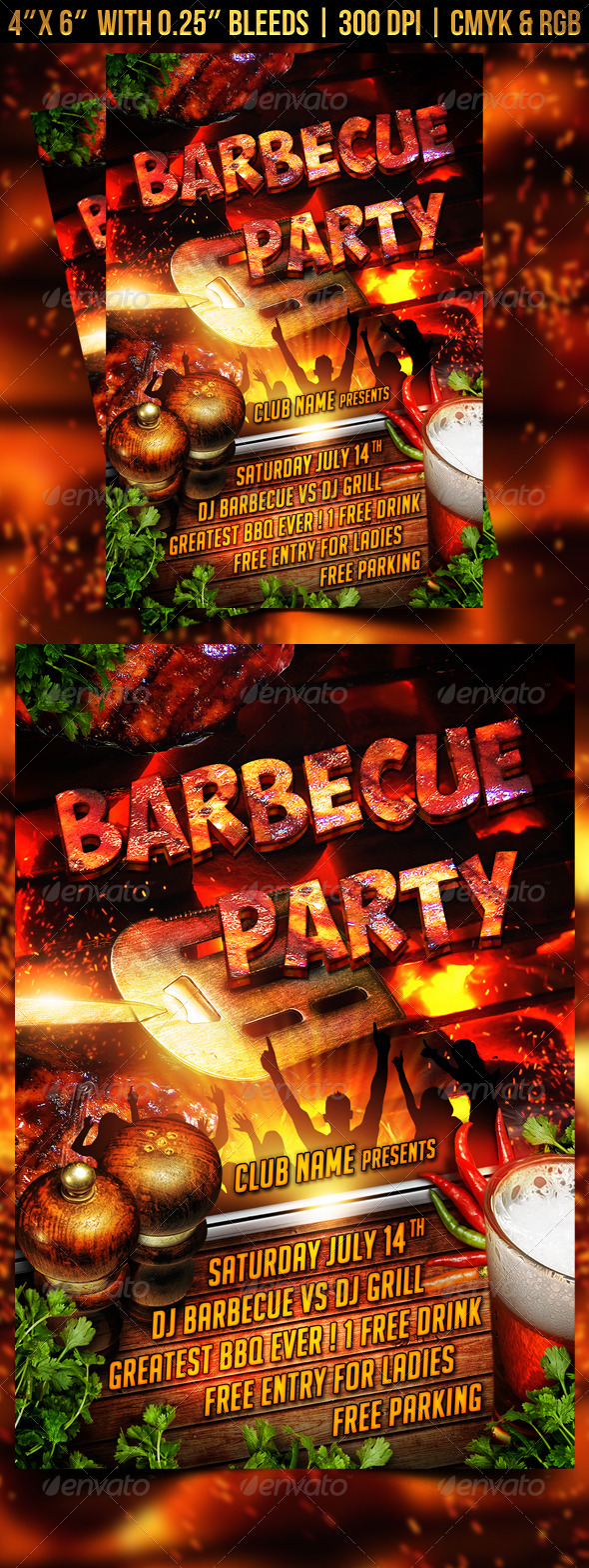 Barbecue BBQ Party Flyer - Clubs & Parties Events