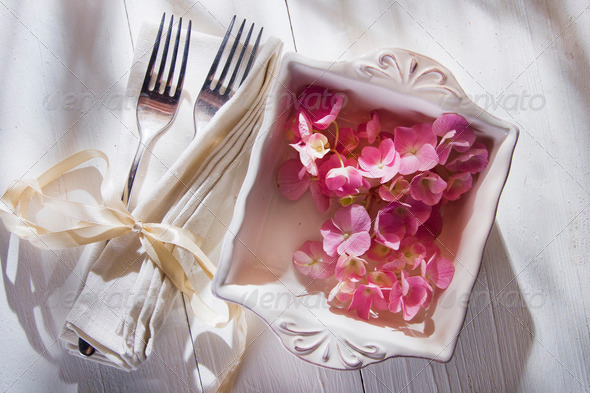 Hydrangeas for the ornament of the table - Stock Photo - Images