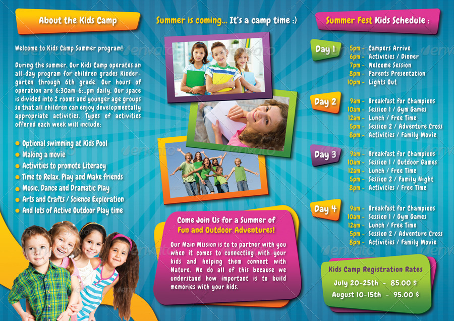 free brochure templates for kids - kids summer camp 3 fold brochure 01 by rapidgraf