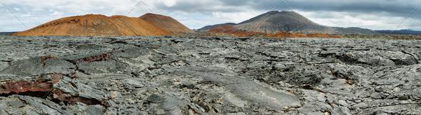 Volcanic landscape of Santiago island - Stock Photo - Images
