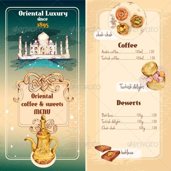 Oriental Sweets Menu - Food Objects