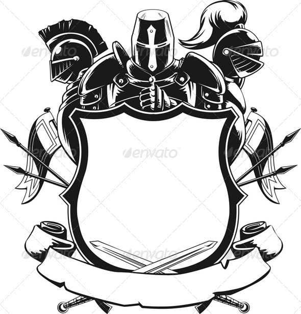 Knight Shield Silhouette Ornament By Bluezace Graphicriver
