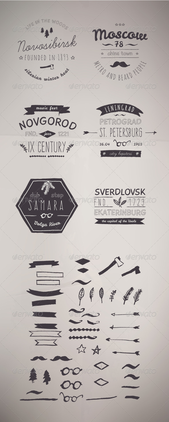6 Hand Drawn Style Logos. Trendy Retro Vintage - Tattoos Vectors
