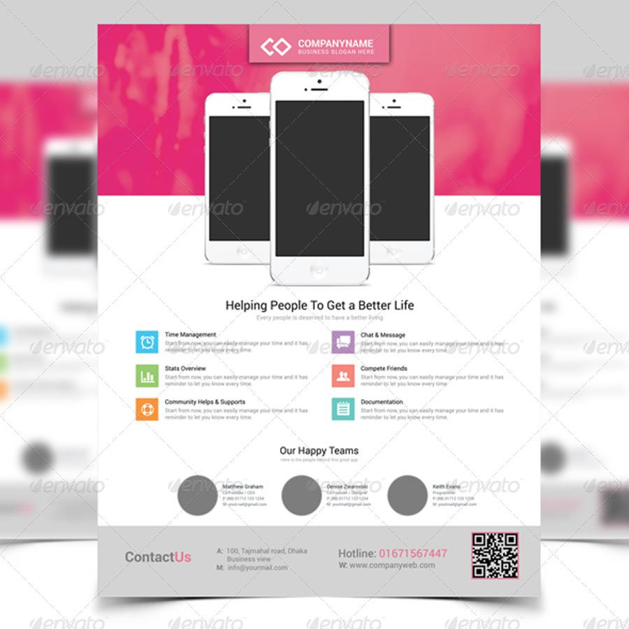 Poster design app - App Promotion Modern Flyer Poster Template